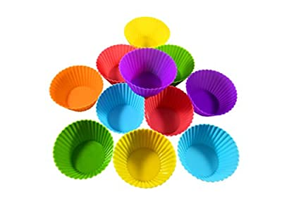 Set of 12 Silicone Baking Cups, Reusable Cupcake Liners, Non-stick, Premium silicone muffin mold