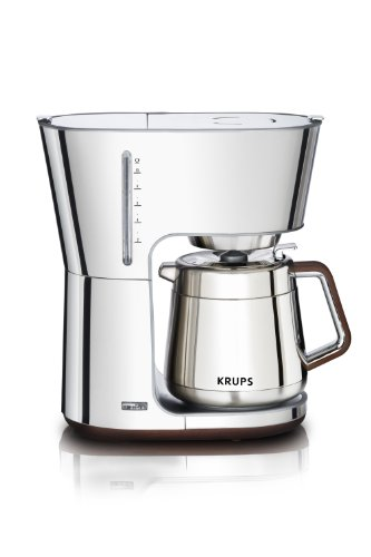 KRUPS KT600 Silver Art Collection 10 European Cup Thermal Carafe Coffee Maker, Stainless Steel/Chrome