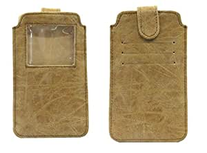 Jo Jo A10 Classic Leather Carry Case Pouch Wallet S View For Acer Liquid E600 Light Brown