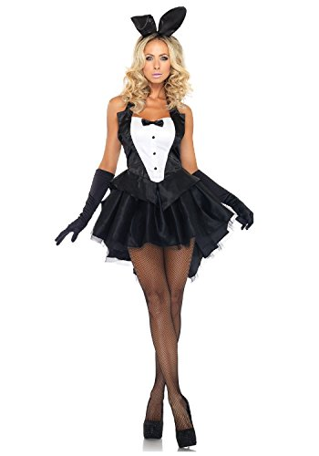 [hendeo ChicWomen's 3 Piece Tux and Tails Bunny Tuxedo Costume BlackX-Large] (Bunny Dress Tux Tails Adult Costumes)