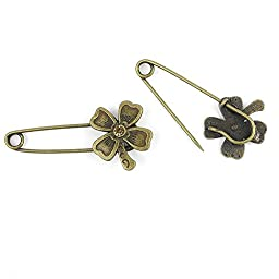 Price per 30 Pieces Fashion Jewelry Making Charms Findings Arts Crafts Beading Antique Bronze Tone 54810 Lucky Clover Safety Pins Brooch