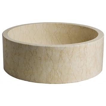 vasque poser poser cylindrique en pierre beige antique bricolage m241. Black Bedroom Furniture Sets. Home Design Ideas