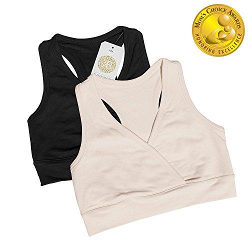 Soft French Terry Nursing Sleep Bra for Maternity / Breastfeeding (Large, 2 Pack, Black/Nude)