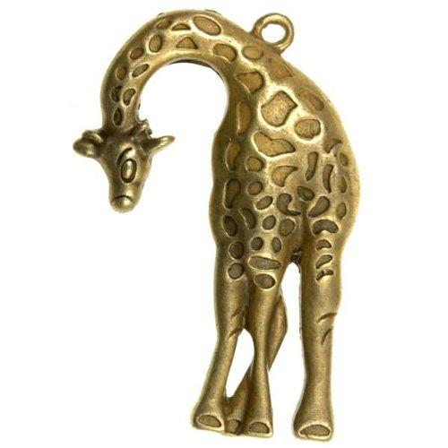 5pcs Vintage Brass Antique Bronze Style giraffe Pendants Jewellery Jewelry Findings 43x29x4mm U-TS5795