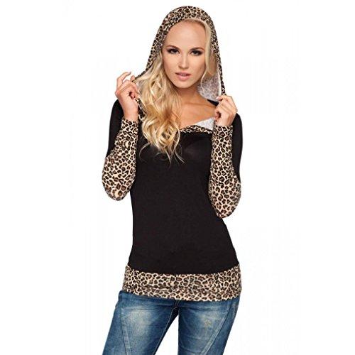 Reasoncool Donna Leopard cucitura con cappuccio maglione con scollo a V a maniche lunghe maglione T-shirt (L, Oro)