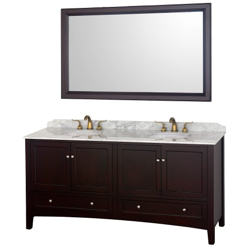 Audrey Double Bathroom Vanity In Espresso With White Carrera Marble Top With White Porcelain Undermount Sinks front-557004