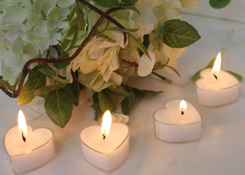 White Wedding Heart Shaped Candle Favors (Set