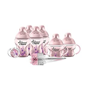 Tommee Tippee Closer to Nature Newborn Decorated Starter新生儿粉色奶瓶套装