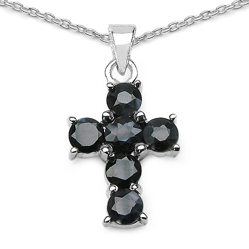 2.1 Carat Genuine Sapphire Cross Shape 925 Sterling Silver Pendant