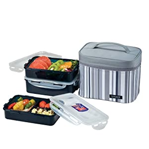 lock lock picnic lunch box bento set hpl817dg gray medium kitchen home. Black Bedroom Furniture Sets. Home Design Ideas