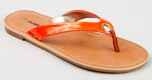 Cheap City Classified MICKY Neon Patent Thong Flip Flops Flats Sandal (B008AK5CCS)
