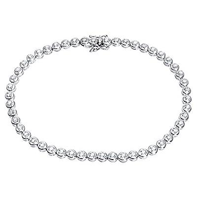 Ariel Round Brilliant 0.50ct Diamond 9ct White Gold Tennis Bracelet of 19cm