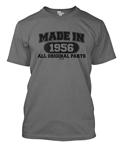 Made In 1956 All Original Parts 60th Birthday Gift Men's T-shirt (XL, CHARCOAL)