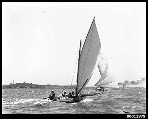 POSTER Skiff Sydney Harbour probably participating in Anniversary Day Regatta Australia Maritime Australian National