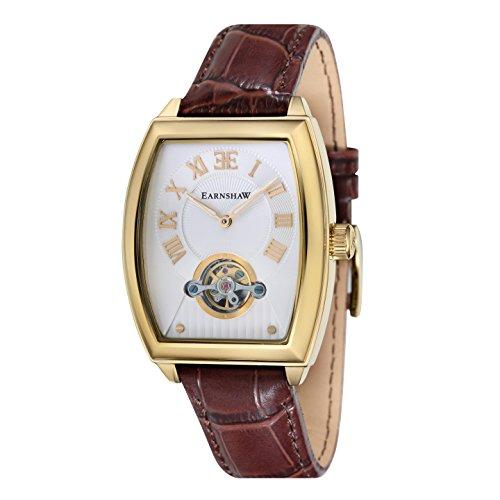 Montre Robinson pour homme Thomas Earnshaw avec cadran blanc analogique et bracelet en cuir marron - ES-8044-03