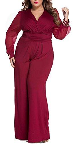 SunIfSnow polsini Sexy Scollo a V nero impreziosito maglia maniche lunghe Loose Tuta Red X-Large