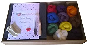 British Wool Needle Felting Kit - with Handle, Glass Eyes and Finger Protectors