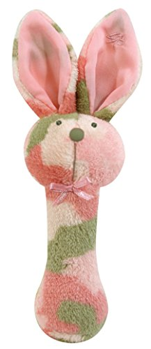 Stephan Baby Plush Fleece Bunnie Post Rattle, Pink Camo Print (Pink Camo Baby Shower compare prices)