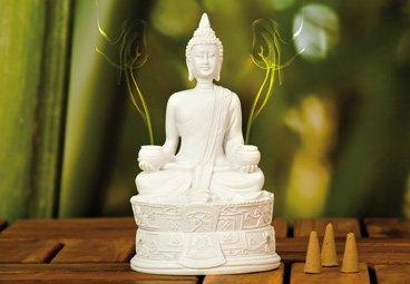 Quemador de incienso de Buda en blanco con 3 conos de incienso, incensario