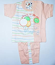 Bubbles Printed Dress For New Born (0-3 Months) (Orange)