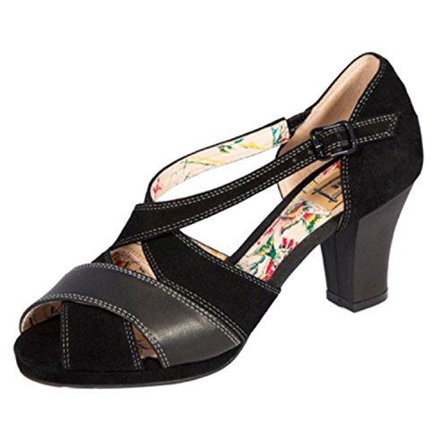 Miss L Fire Nevada Sandal Heel (EU 38, Black) (Remix Vintage Shoes compare prices)