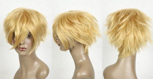 Cosplayland C522 - short layered Naruto heat-resistant Blonde Cosplay Wig