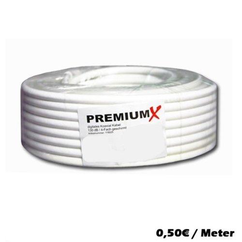 10m Koaxial Kabel 130 dB 4-Fach geschirmt, SAT Koax Antennenkabel 130dB 3D FullHD 1080p HDTV tauglich