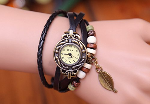 BeautyLife Weave Wrap Around Leather Bracelet Lady Woman Wrist Watch (Black Leaf)