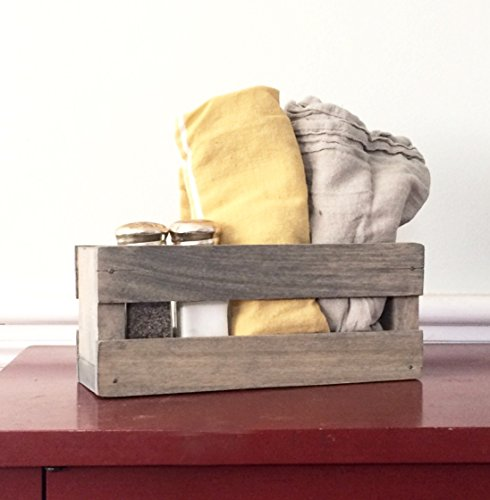 Napkin Holder Salt and Pepper Shaker Holder Tableware Rustic Farmhouse Table Centerpiece Home Decor Kitchen Decor Dining Room Napkins Crate Canister Box Bucket Wood Reclaimed Barn (Rustic Kitchen Ware compare prices)