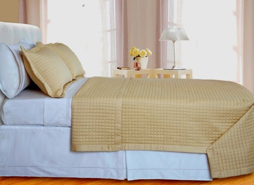 Egyptian Cotton 400 Thread Count Reversible Coverlet Set 3 PC Full/Queen (Gold)