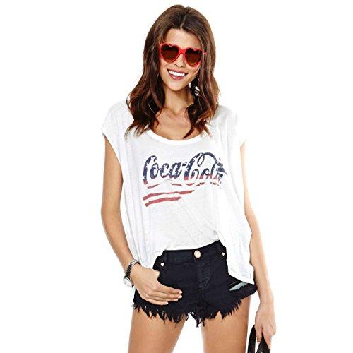 Coca Cola modello lettera signora delle donne shirt stampate American Flag Chiffon (S)