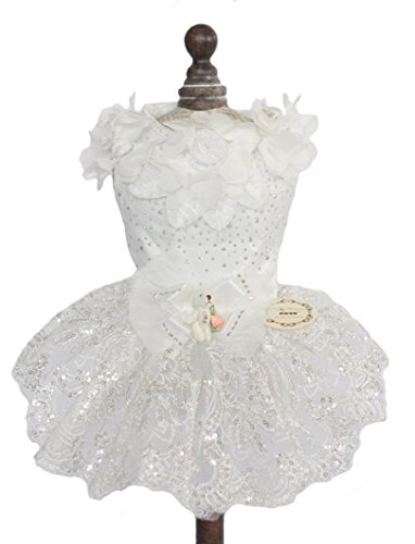 TOPSUNG Pure White Satin Pet Princess Tutu Flower and Sequin Embroidery Wedding Dog Dress for Small Dogs / Cats, Asia Size M