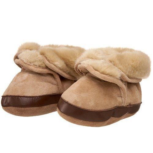 Robeez Soft Soles Kids' Cozy Ankle Bootie,Tan,12-18 Months (4.5-6 M US Toddler)