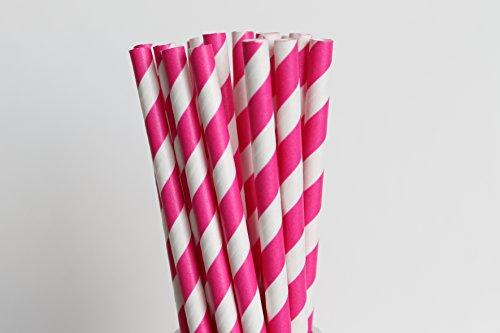 Dark Pink Stripe Paper Straws | 25 Ct front-798613