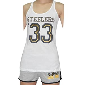 2 Piece Set:Womens Pittsburgh Steelers #33 Pink Victoria's Secret Sports Tank Top And Shorts Set from SteelerMania