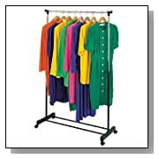 ROLLING adjustable GARMENT rack CLOTHES hanging