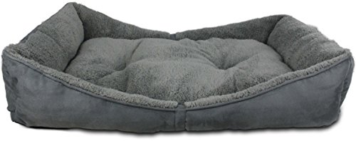 All-for-Paws-Lambswool-Bolster-Pet-Bed-41-by-26-Inch-Grey