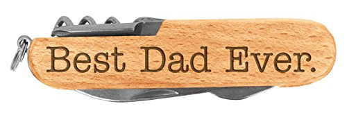 Fathers Day Gift for Dad Best Dad Ever Laser Engraved Wood 6 Function Multitool Pocket Knife