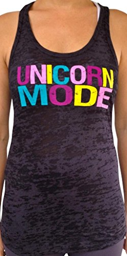 SoRock Women's Unicorn Mode Burnout Tank Top Medium Black