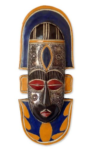 NOVICA Decorative Ghanaian Large Aluminum and Wood Mask, Multicolor 'Fisherman'