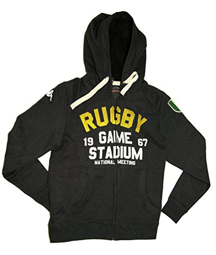 Slim Fit Italian Designer's Mens Charcoal Rugby Fleece Zip Hoody Winter Jacket (Charcoal, S) (Italian Rugby compare prices)