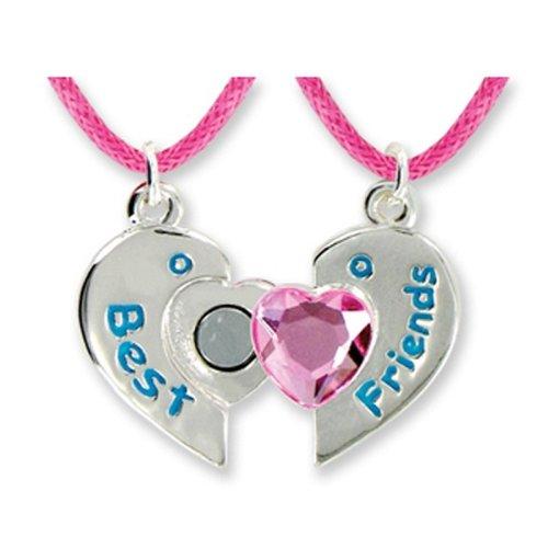 Best Friends Forever Twin Pendants in Keepsake Boxes Pink Heart Girls Necklace - 1