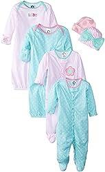 Gerber Baby-Girls Newborn Love 6 Piece Sleepwear Essential Set, Pink, 0-3 Months