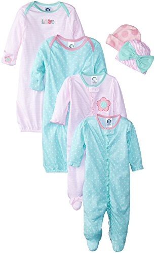 Gerber Baby-Boys Newborn Love 6 Piece Sleepwear Essential Gift Set,Multi,0-3 Months(Gown&Cap 0-6 Months)