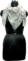 Selfiwear SW-1368 Snakey Grey Pure Silk Scarf