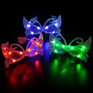 12 Pairs of LED BUTTERFLY Flashing Light Up Party Glasses Shades