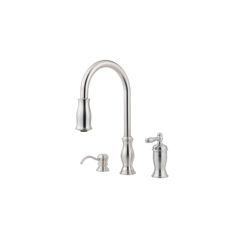 Price Pfister 526 5TMS Hanover Single Handle Kitchen Faucet with Pull Down Spray and Soap Dispenser, Stainless Steel