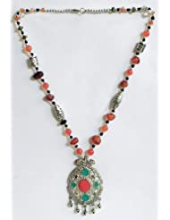 Faux Carnelian With Silver And Black Color Bead Tibetan Necklace With White Metal Pendant - Stone And Metal