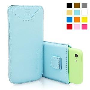 Snugg - Funda de piel para iPhone 5C (tarjetero, cinta elástica e interior de nobuck)