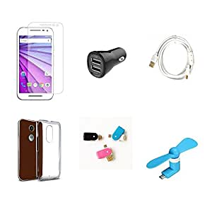 High Quality Combo of Moto G3 Temper Glass + Car Charger 2 USB + Fast Chargin...